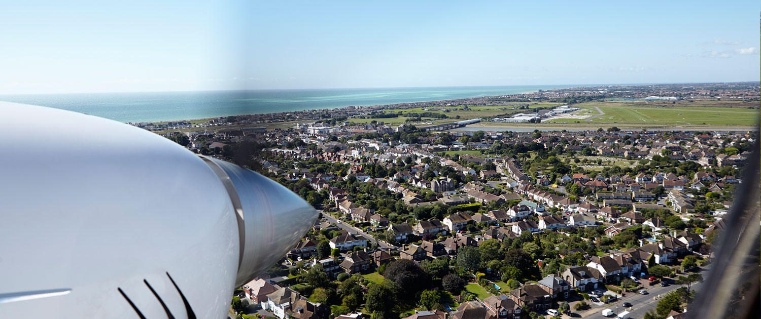 View of shoreham from aircraft flyover