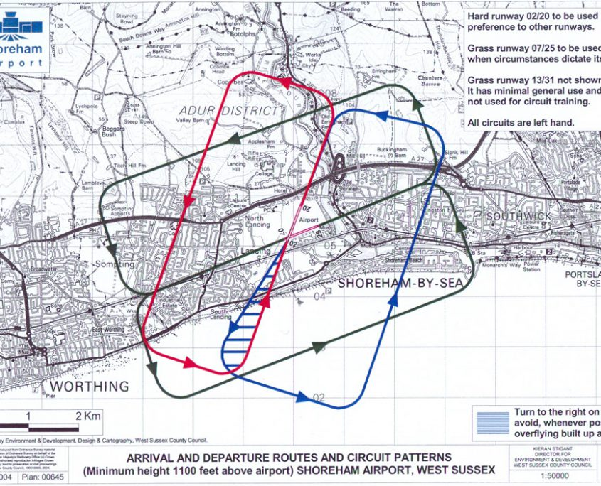 Map of circuits above brighton city airport runways